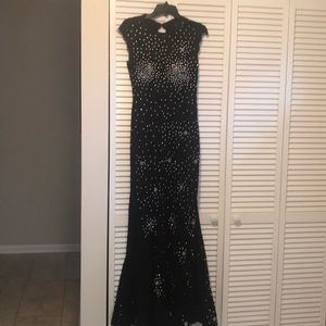 Formal sequined black lace gown